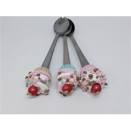 Kit com 5 Colheres para Sobremesa Cupcakes Candy Biscuit